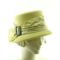 Yellow Vintage Style Cloche Hat  1920s Straw by TheMillineryShop, $250.00