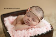 Newborn Girl Jute Headband with Flower. Shabby Chic, Baby Girl, Photography Prop, Tie Back. $7.00, via Etsy.