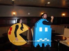 "Homemade Ms Pac Man and Ghost Halloween Couple Costume: This Homemade Ms Pac Man and Ghost Halloween Couple Costume was created for a ""80's icons"" theme party that we were invited to. My fiance suggested PacMan,"