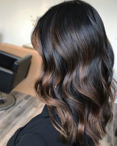 To black hair, black hair to balayage, ombre hair brunette, ombre hair Dark Balayage, Brown Hair Balayage, Hair Color Balayage, Hair Highlights, Bayalage On Black Hair, Black Hair With Highlights, Black Highlighted Hair, Dark Hair With Lowlights, Dark Ombre Hair