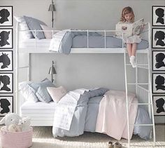 notice white beds with grey on top and pink on bottom.  you could put purple on the bottom instead