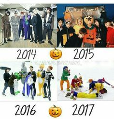 Halloween for BTS over the years! Bts Memes, Bts Boys, Bts Bangtan Boy, Jungkook School, Suga Suga, Jhope Bts, K Pop, Bts Halloween, Happy Halloween