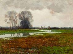 Helen McNicoll, River Landscape, n.d., oil on canvas, 45.7 x 60.8 cm, The Robert McLaughlin Gallery, Oshawa. #ArtCanInstitute #CanadianArt