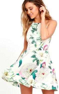 488e0ae7ad Hydrangea Haven Cream Floral Print Skater Dress