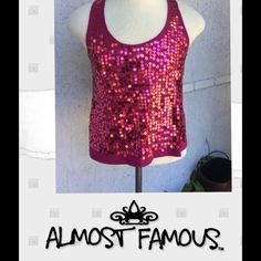 HP ALMOST FAMOUS....SEQUENCE TANK HOST PICK 3/4/16 ESSENTIAL STYLE     Listing....a magenta color with beautiful sequence in front and plain soft Razorback back... WOMANS size large.  Free gift with purchase Almost Famous Tops Tank Tops
