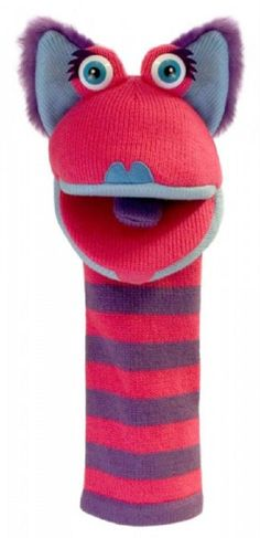 Kitty Knitted Hand Puppet by The Puppet Company This colorful, striped character is a knitted long arm puppet with a squeaker in the tongue. Kitty features wonderful detail and is so easy to use. This