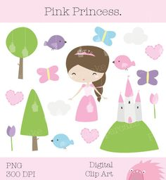 Pink Princess ClipArt for Party Invitations by papercakemakes, $5.00