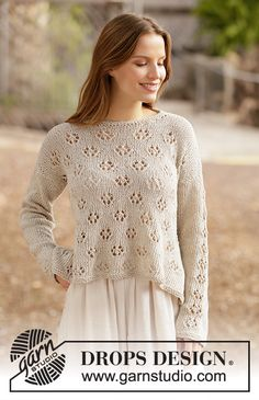 Free Flow Sweater pattern by DROPS design Knitting Designs, Knitting Patterns Free, Knit Patterns, Free Knitting, Knitting Projects, Free Pattern, Drops Patterns, Knitting Tutorials, Loom Knitting