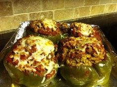 KEEPER:  Crockpot Stuffed Peppers. I could only fit 4 large peppers in my 6 qt crock pot. Use your favorite oven recipe.  No need to parboil peppers, or cook meat or rice.  Use raw lean ground beef & uncooked minute rice. 1/4 cup water in bottom of crock. 6 hrs on low.  Add cheese & pop under toaster oven broiler for a minute.