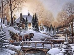 Bringing Home the Tree Winter Szenen, Winter Magic, Thomas Kinkade, Christmas Scenes, Christmas Past, Xmas, Christmas Drawing, Christmas Paintings, Winter Pictures