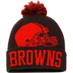 6154aacc0 Cleveland Browns NFL Pro Line by Fanatics Branded Iconic Team Pop Cuffed  Knit Hat with Pom - Brown