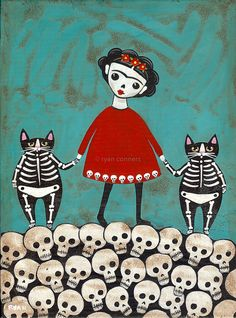 I ran across this Frida with her skeleton cats while I was looking for Day of the Dead reference material.