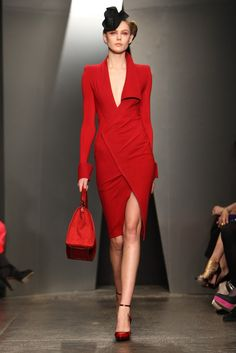 #Donna Karan Fall 2012 Red Dresses #2dayslook #RedDresses #anoukblokker #watsonlucy723 www.2dayslook.com