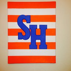 Chevron Canvas! Blue orange white Sam Houston shsu painted canvas
