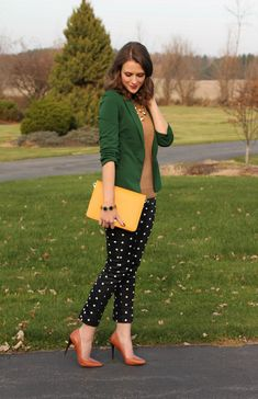 *Green AT blazer & camel sweater & polka dot pants & brown AT pumps // Emerald City - Nov.