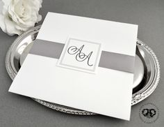 Square elegant classy simple modern wedding invitation & RSVP cards, with grey ribbon