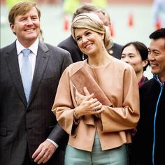 Queen Maxima and King Willem-Alexander of The Netherlands visit the Sino-Dutch Diary Development Center on October 25, 2015 in Beijing, China. The center is an initiative of the Wageningen University, Frieslandcampina and China Agricultural University to improve the safety and quality of dairy products. The King and Queen are in china for an 5 day state visit.