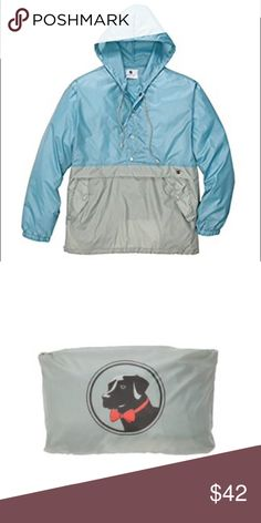 Southern Proper Labrador Pullover Nylon Anorak, Hood, Pockets with Snaps, Elastic Draw String Cords, Packable, Water Resistant. Packable rain jacket from Southern Proper. Elastic draw string cords with kangaroo pockets with snaps. 5% Nylon 35% Polyester. Southern Proper Jackets & Coats Raincoats