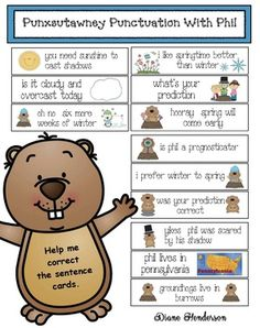 """Groundhog Day Activities: Quick, easy & fun """"Punxsutawney Punctuation With Phil"""" pocket chart cards. What a fun way to practice capitalization & end punctuation while learning facts about Groundhog Day! Groundhog Day Activities, Learning Activities, Punctuation Activities, February Holidays, Sight Words, Word Work, My Teacher, Lesson Plans, Sentences"""