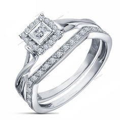 Princess & Round Diamond 1.15 Carat With 4 Prong Setting 925 Silver Bridal Set 5 #aonedesigns