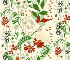Daylight in a perfect world (cream) fabric by mirjamauno on Spoonflower - custom fabric