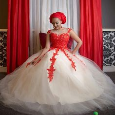Lovely red n cream African Lace Dresses, African Wedding Dress, African Fashion Dresses, African Outfits, African Traditional Wedding Dress, Traditional Wedding Attire, Fancy Wedding Dresses, Wedding Outfits, Wedding Gowns