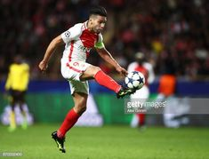 Radamel Falcao Garcia of Monaco takes a shot at goal during the UEFA Champions League Quarter Final second leg match between AS Monaco and Borussia. Carlos Valderrama, As Monaco, Take A Shot, Uefa Champions League, Finals, Take That, Running, Keep Running, Final Exams