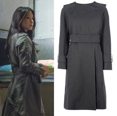Elementary season 2, episode 23: Joan Watson's (Lucy Liu) army green trench coat with perforated sleeves by Carven #getthelook #joanwatson #elementary #carven
