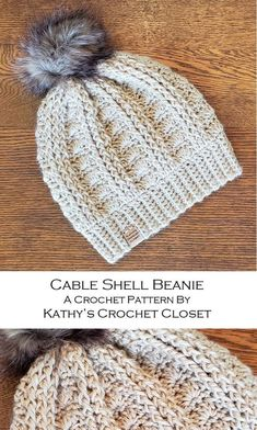 crochet hats The Cable Shell Beanie is crocheted using worsted weight yarn and a size J crochet hook. The ribbed band of the hat is created first using short rows and then the body of th Diy Crochet Hat, Crochet Bear Hat, Crochet Winter, Learn Crochet, Crochet Men, Crochet Dolls, Beanie Pattern Free, Crochet Beanie Pattern, Mens Crochet Beanie