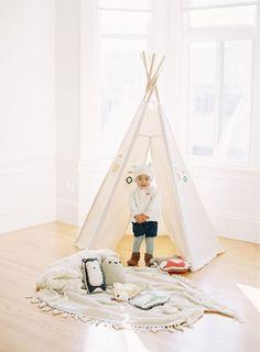 kids white teepee + stuffed woodland creatures