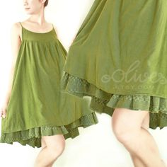 Summer Layered Cotton Dress in Green by oOlives on Etsy, $45.00