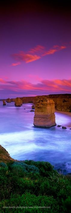 The Twelve Apostles is a collection of limestone stacks off the shore of the Port Campbell National Park, by the Great Ocean Road in Victoria, Australia. Their proximity to one another has made the site a popular tourist attraction.