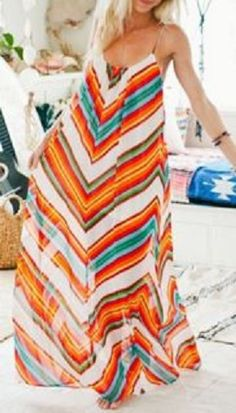 Stylish Orange and Blue Spaghetti Strap Zig Zag Print Chiffon Maxi Dress For Women