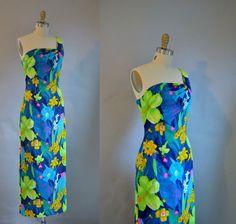 1970s Hawaiian Maxi Dress / 70s One Shoulder by FemaleHysteria, $48.00