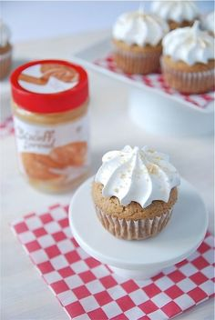 Biscoff Cupcakes with Marshmallow Frosting.   These look yummy but I have never tasted a Biscoff cookie before...they say they taste like shortbread cookies....has anyone ever tasted this spread before??