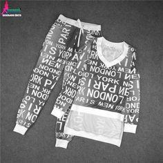 Gagaopt Tracksuit For Women Costumes 2-Piece Set Letter Print V-neck Women Suit Set Tracksuits Conjunto Feminino