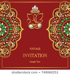 Wedding Invitation card templates with gold patterned and crystals on background color. Blank Wedding Invitation Templates, Scroll Wedding Invitations, Indian Wedding Invitation Cards, Wedding Invitation Background, Wedding Invitations With Pictures, Indian Wedding Cards, Invitation Card Design, Housewarming Invitation Cards, Engagement Invitation Template