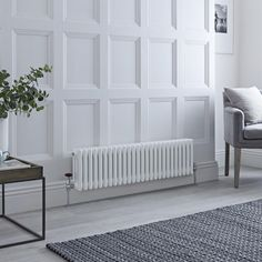 Milano Windsor - Horizontal Triple Column White Traditional Cast Iron Style Radiator - x - Suitable for creating an elegant feature in any room of your home such as in the lounge, dining roo - Horizontal Radiators, Column Radiators, Electric Radiators, Cast Iron Radiators, Solid Brick, Brick And Wood, Roof Insulation, Types Of Rooms, Room Dimensions