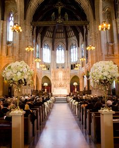Glamorous vintage church wedding ceremony decorations-shame the pew flowers don't start at Church Wedding Ceremony, Wedding Altars, Wedding Ceremony Decorations, Church Decorations, Church Weddings, Decor Wedding, Church Aisle, Church Wedding Catholic, Small Weddings
