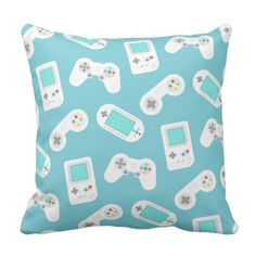 Level Up | Retro Gamer Pattern Throw Pillow - home gifts ideas decor special unique custom individual customized individualized