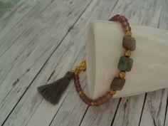 Armbänder - süßes Sommer - Armband mit Fluorit und Quaste rosa - ein Designerstück von buntezeiten bei DaWanda