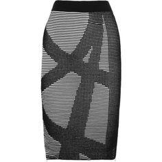 Dagmar Jenat ribbed-knit skirt (8.385 RUB) ❤ liked on Polyvore featuring skirts, black, elastic waist skirt, black knee length skirt, dagmar, black zipper skirt and pull on skirt