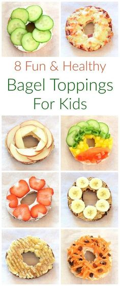 Fun and easy healthy bagel toppings ideas for kids - breakfast and lunch ideas…  See more http://recipesheaven.com/paleo