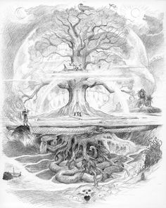 withdoom: John Howe - Yggdrasil Probably my favourite fantasy artist, John Howe, some how manage to encapsulate almost the entirety of Norse mythology in one drawing… madness. This is one of those sort of things I ponder; wondering if this would make a good tattoo; a back piece mayhap; or would it look like an awkward heavy-metal t-shirt?