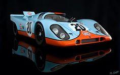 Die cast model. Steve McQueen Gulf Porsche 917 from Le Mans