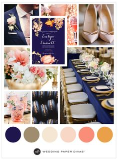 Bold navy and pink coral blooms. Go with complementary hues for a refreshing look this 2016. From the vibrant florals to elegant reception table scapes, this wedding is one to remember.