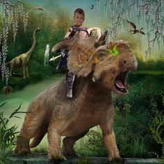 I love to create mixed medium images with people who I know. This is one of my grandsons in a dinosaurusworld.