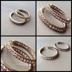 Rose Gold Crystal Hoops Rose gold tone, perfect condition! Jewelry Earrings