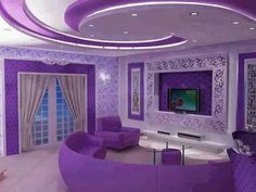Purple living room in my cute little house! That's how obsessed. Purple Love, All Things Purple, Shades Of Purple, Purple Stuff, Bright Purple, Purple Home Decor, Purple Interior, Purple Furniture, Purple Rooms