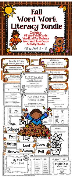 Fall Word Work Bundle - Help improve your students literacy skills with this great Fall Bundle! #tpt #reading #literacy